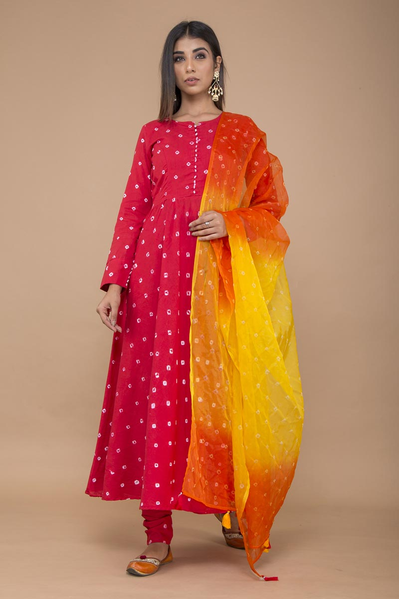 Exclusive Red Color Bandhej Printed Anarkali Suit In Cotton