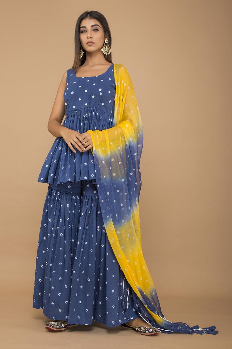 Exclusive Cotton Fabric Blue Peplum Style Bandhej Sharara Suit