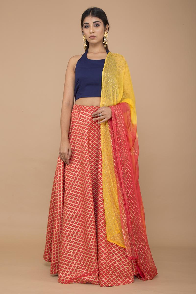 Exclusive Red Cotton Indo Western Lehenga Choli