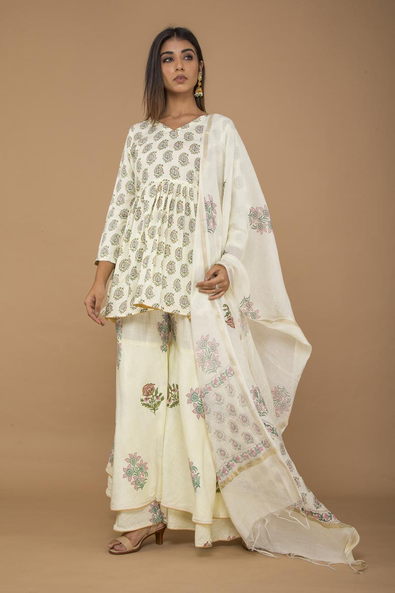 Exclusive Beige Rayon Fabric Sharara Suit