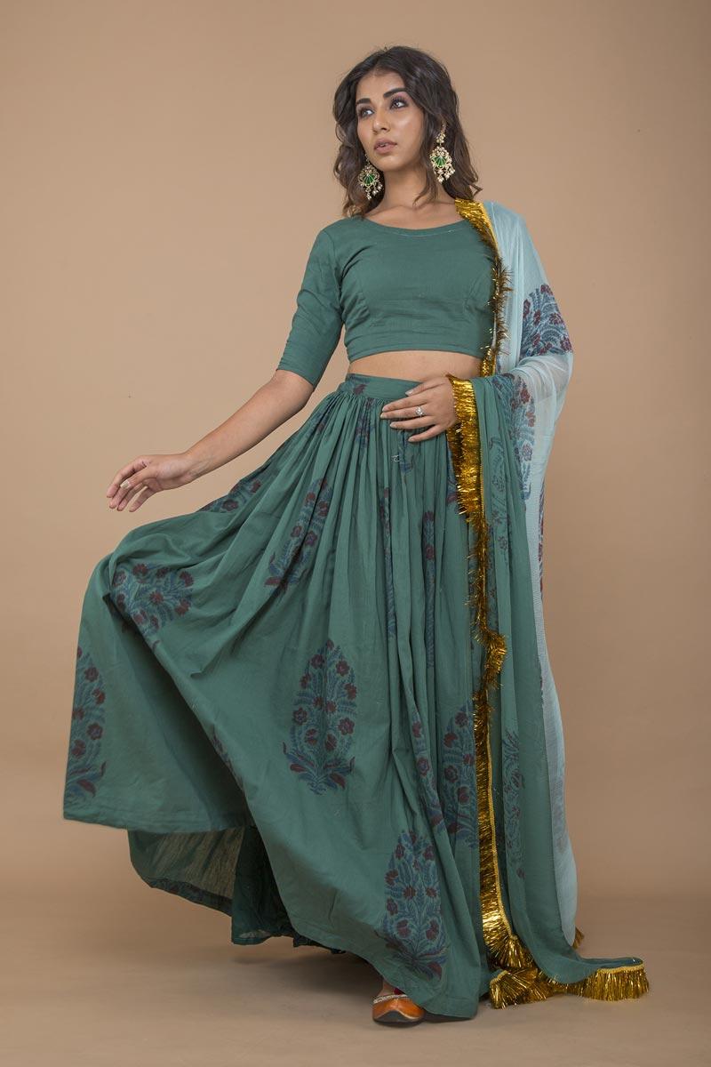 Exclusive Teal Color Printed Lehenga Choli In Cotton