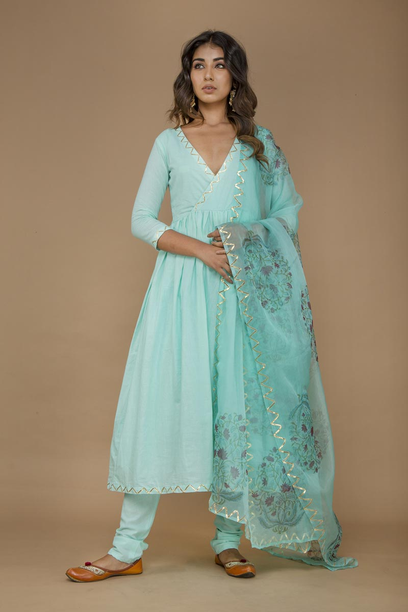 Exclusive Cotton Fabric Cyan Color Anarkali Suit