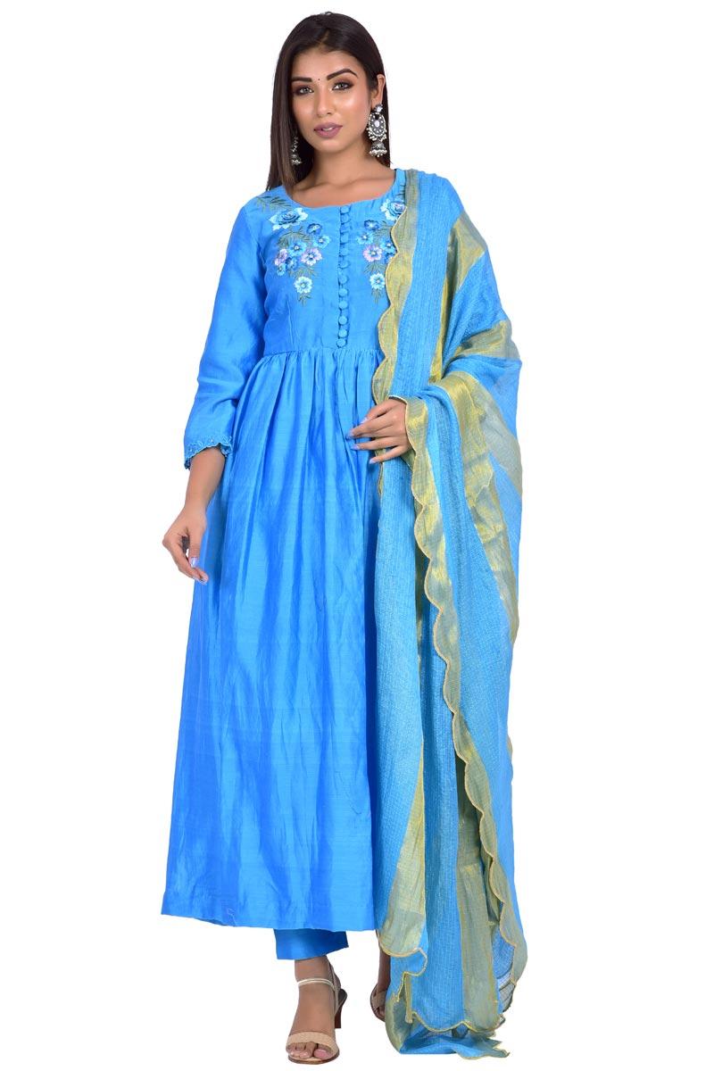 Exclusive Sky Blue Chanderi Fabric Anarkali Salwar Suit