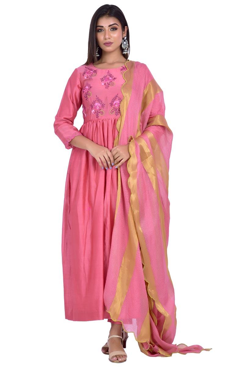 Exclusive Pink Fancy Chanderi Fabric Anarkali Suit