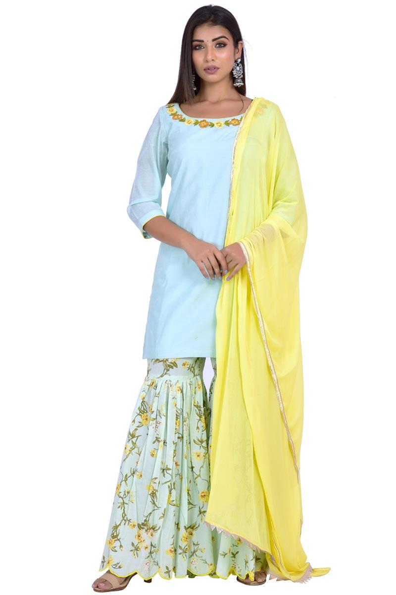 Exclusive Chanderi Fabric Cyan Color Fancy Sharara Suit