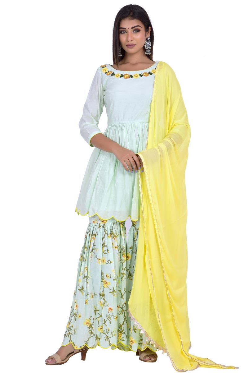 Exclusive Sea Green Chanderi Fabric Designer Sharara Suit