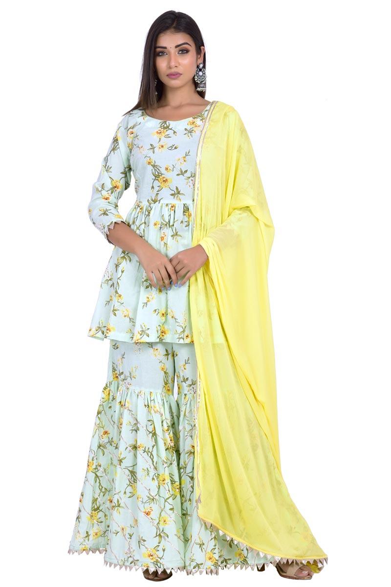 Exclusive Cotton Fabric Sea Green Designer Sharara Suit