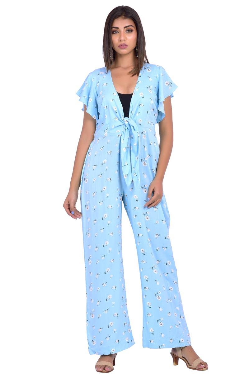 Exclusive Sky Blue Cotton Fabric Jump Suit