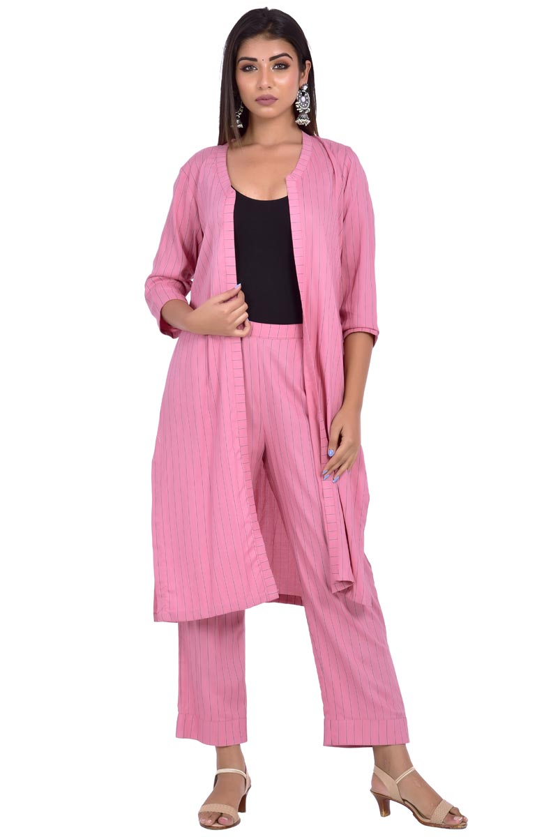 Exclusive Rayon Fabric Pink Color 2 Piece Co Ord Set