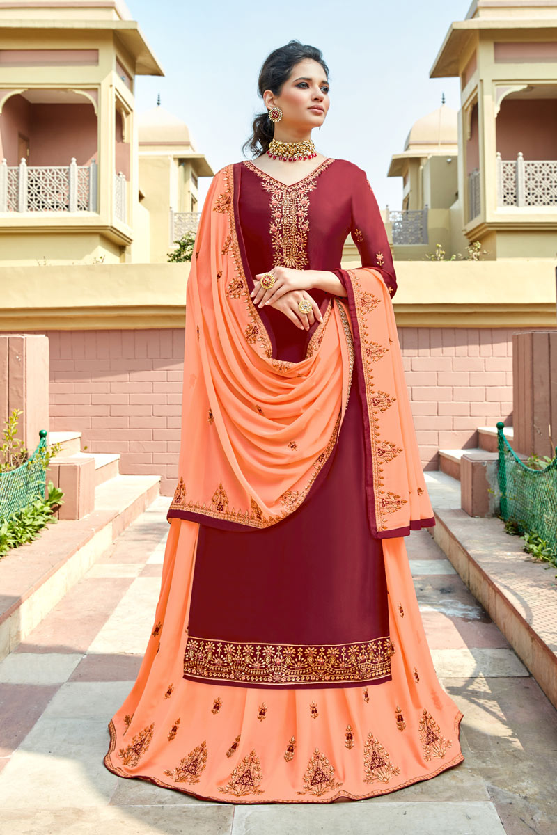 Eid Special Maroon Color Embroidery Work On Party Wear Satin Georgette Fabric Sharara Top Lehenga