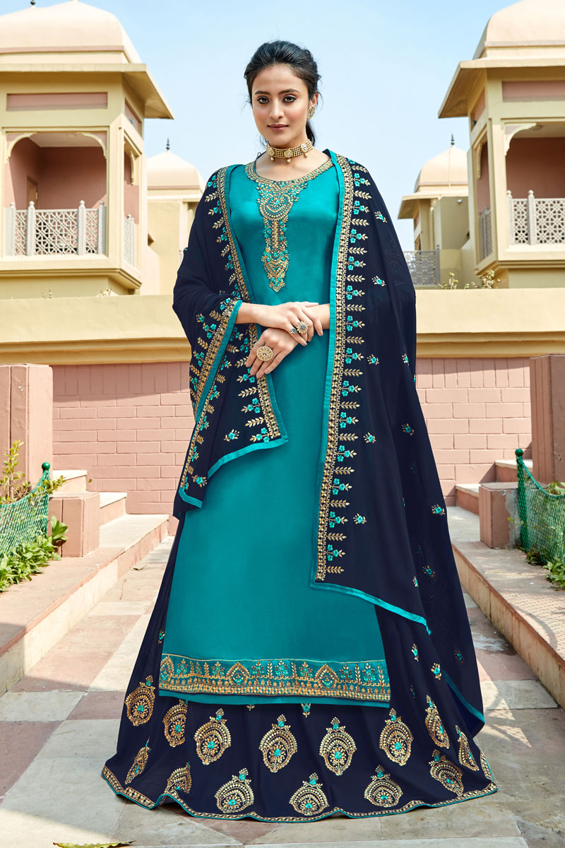 Eid Special Designer Sharara Top Lehenga With Embroidery Work In Sky Blue Color Satin Georgette Fabric