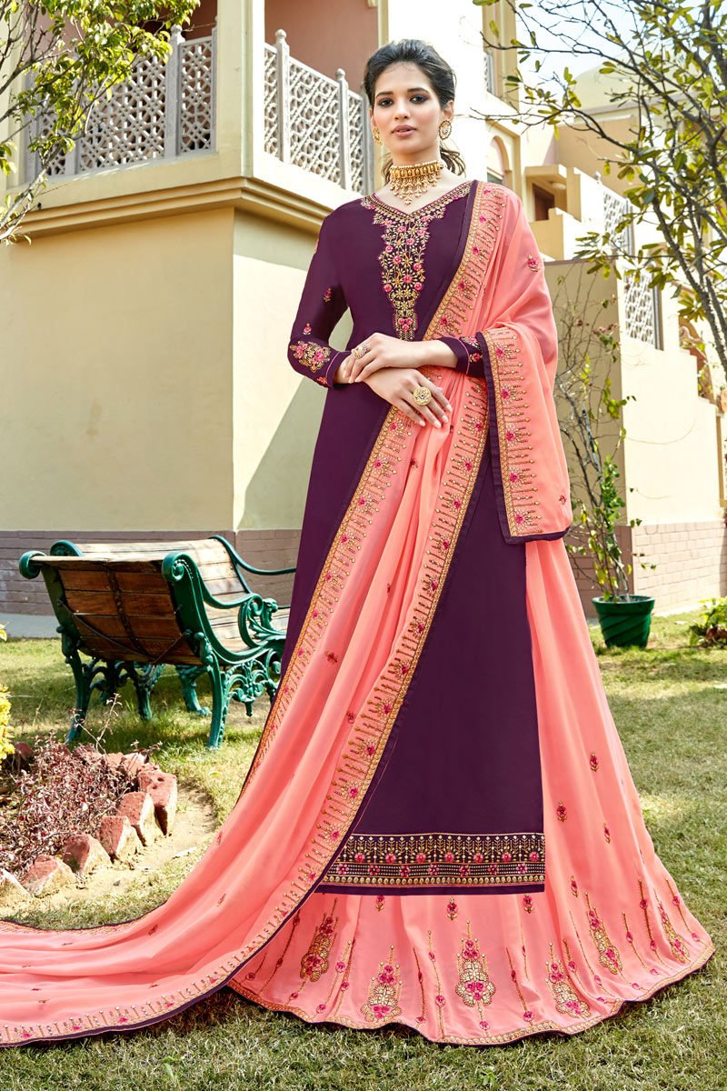 Satin Georgette Fabric Festive Wear Sharara Top Lehenga In Purple Color With Embroidery Work