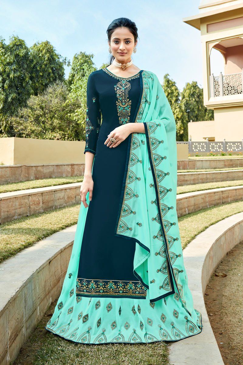Embroidery Work On Navy Blue Color Party Wear Satin Georgette Fabric 3 Piece Sharara Top Lehenga