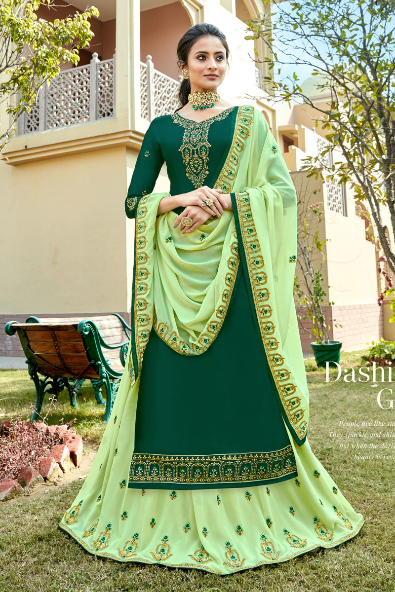 Eid Special Designer Sharara Lehenga In Dark Green Color Satin Georgette Fabric With Embroidery Work