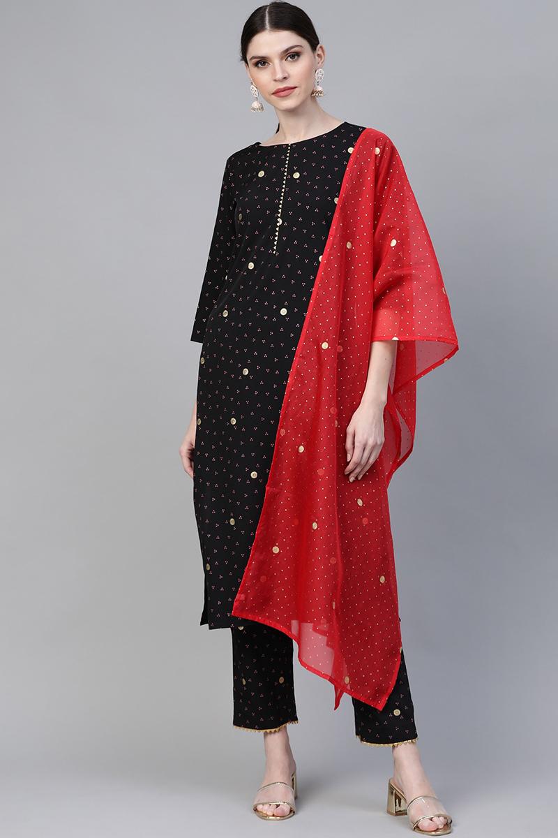 Exclusive Black Color Crepe Fabric Bandhni Printed Kurta Set