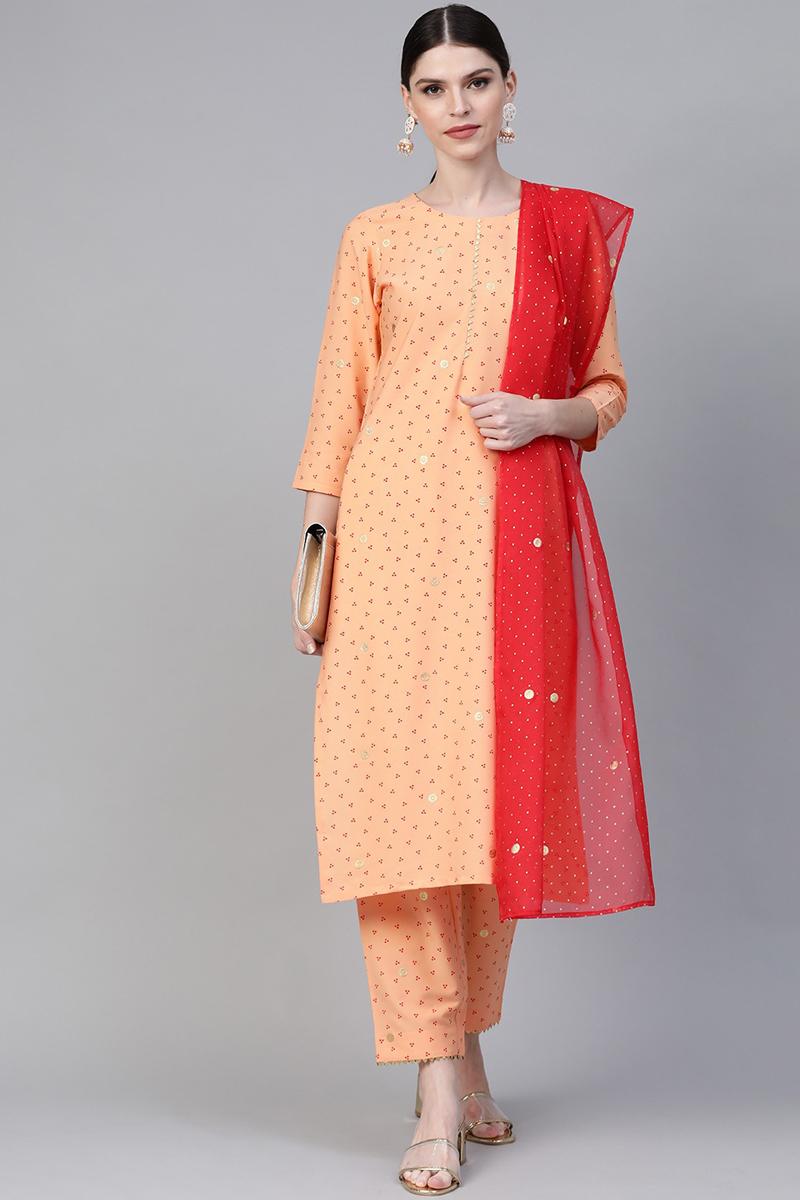 Exclusive Peach Color Crepe Fabric Bandhani Printed Kurta Set