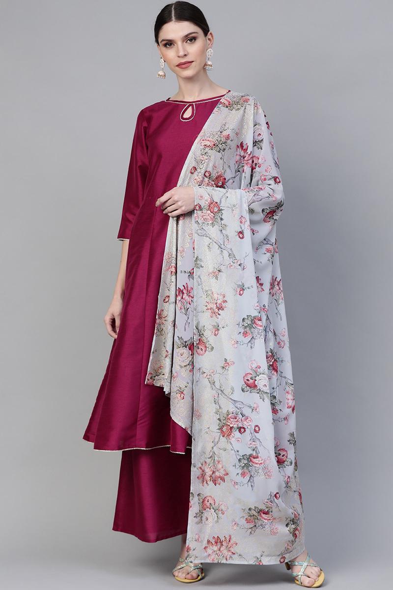 Exclusive Burgundy Color Art Silk Fabric Solid Anarkali Kurta Set