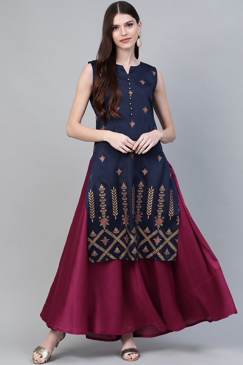 Exclusive Navy Blue Color Art Silk Fabric Ethnic Sreen Printed Layered Maxi Dress