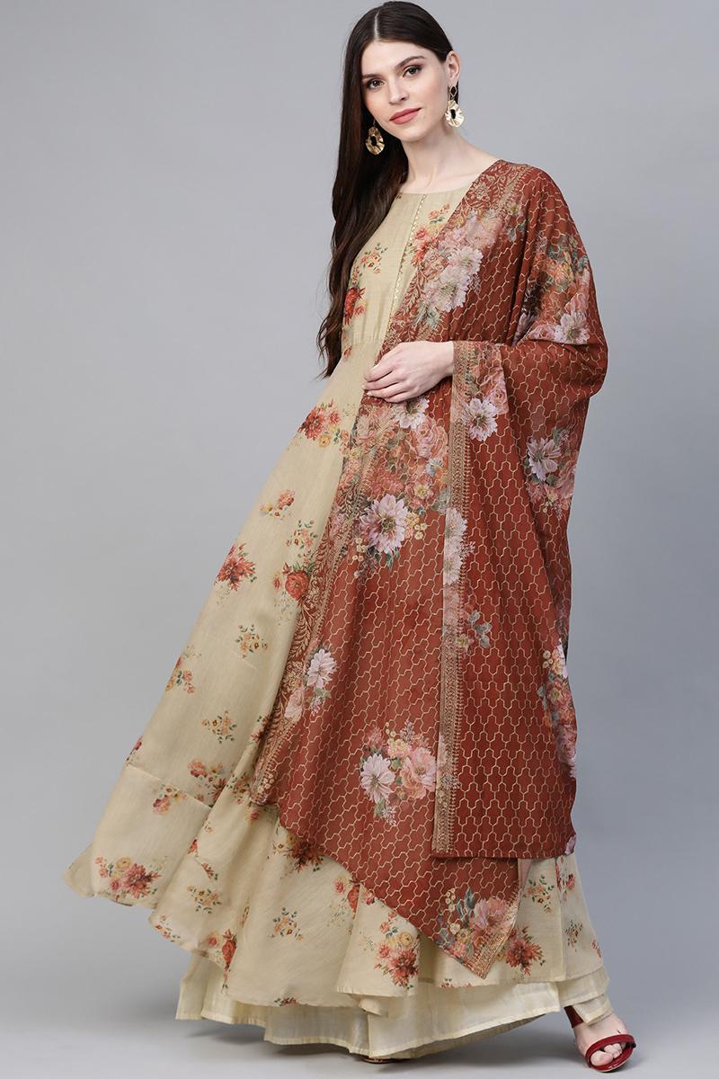 Exclusive Cream Color Fancy Fabric Floral Printed Anarkali Kurta With Dupatta