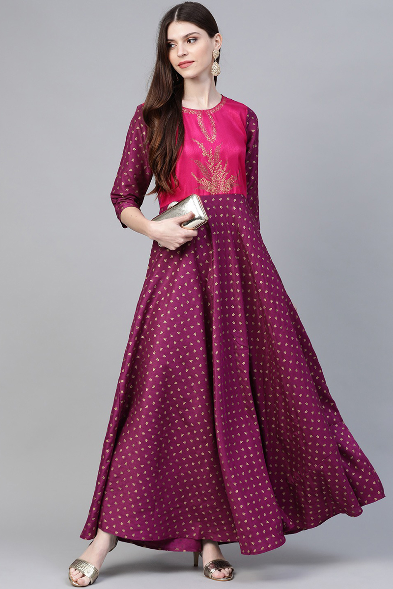 Exclusive Purple Color Printed Long Gown