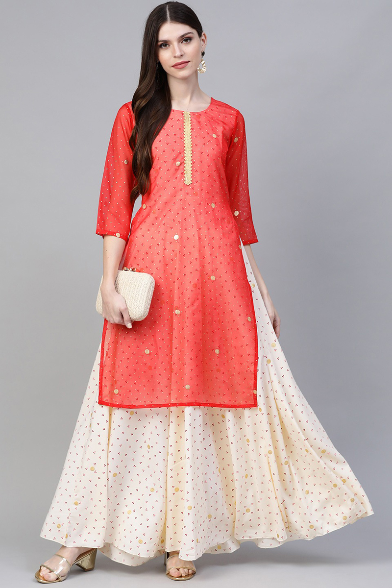 Exclusive Red And Beige Color Straight Kurta With Attached Gown