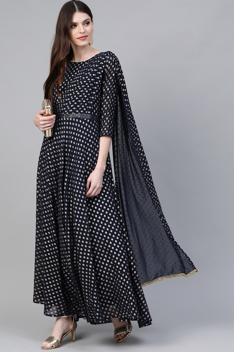 Exclusive Navy Blue Color Fancy Printed Gown For Women