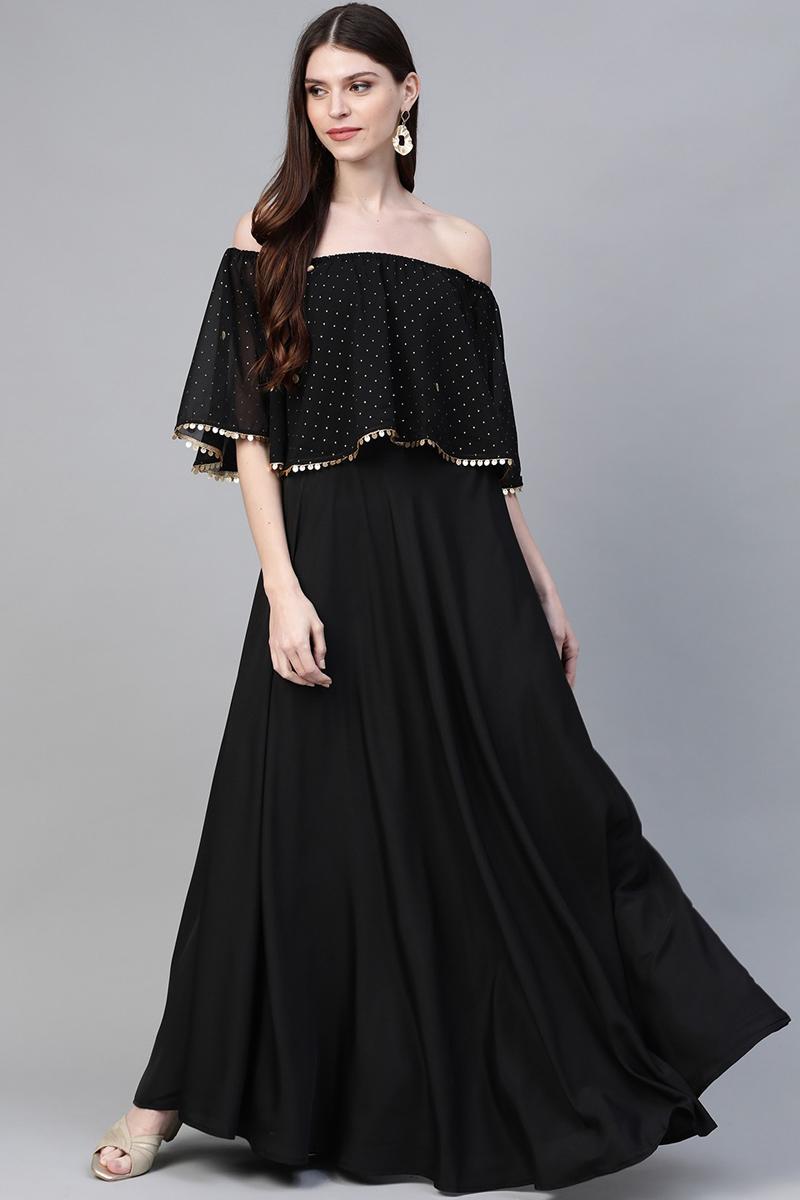 Exclusive Black Color Off Shoulder Long Maxi Gown