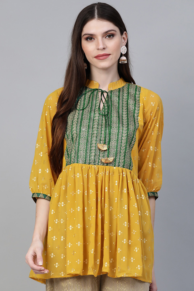 Exclusive Mustard Color Printed A Line Tunic