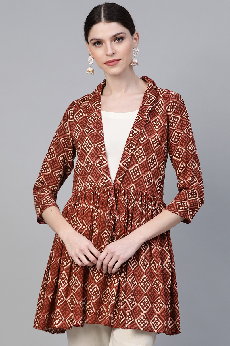 Exclusive Brown Color Printed A Line Tunic