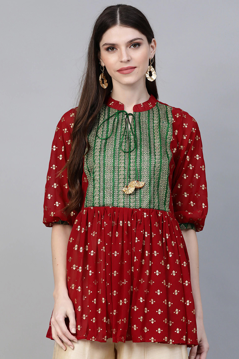 Exclusive Red Color Printed A Line Kediya Tunic