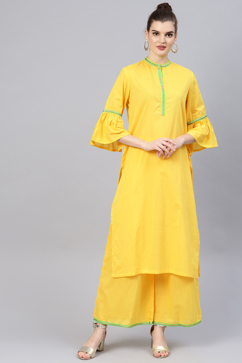 Exclusive Yellow Solid Straight Kurta With Palazzo