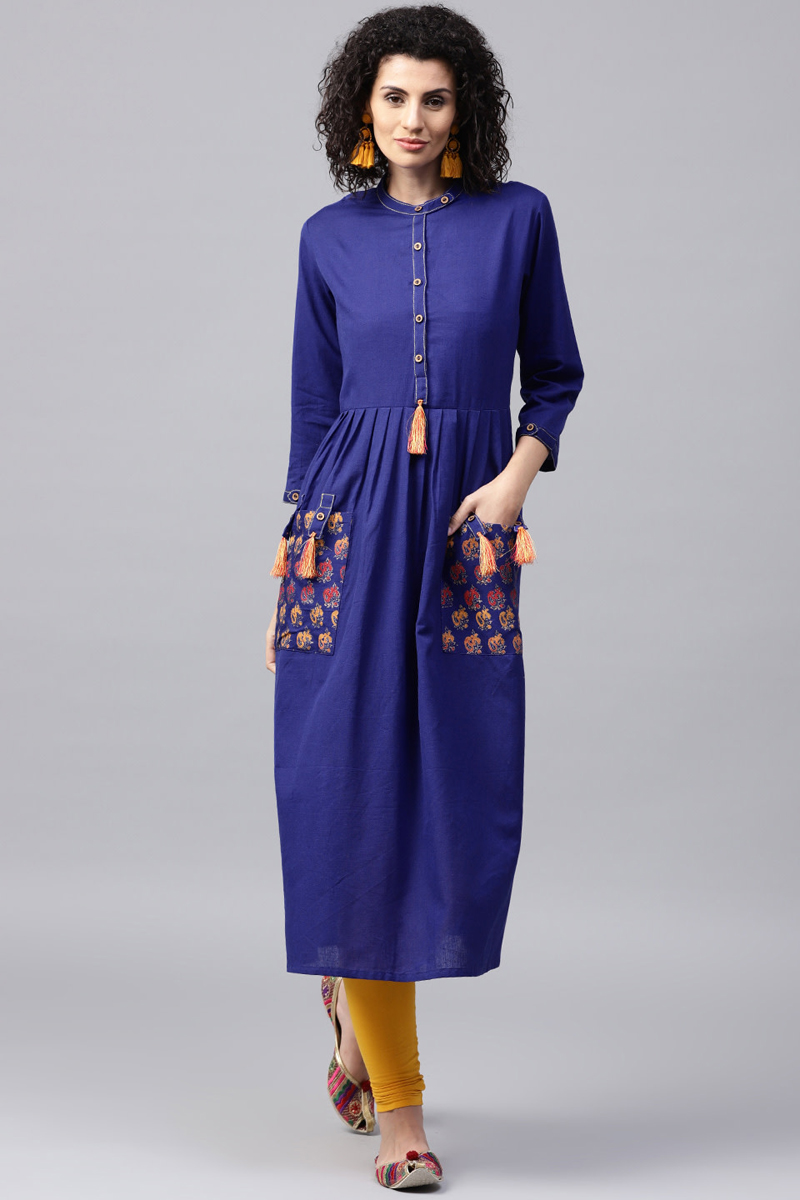 Exclusive Blue Solid A Line Kurta