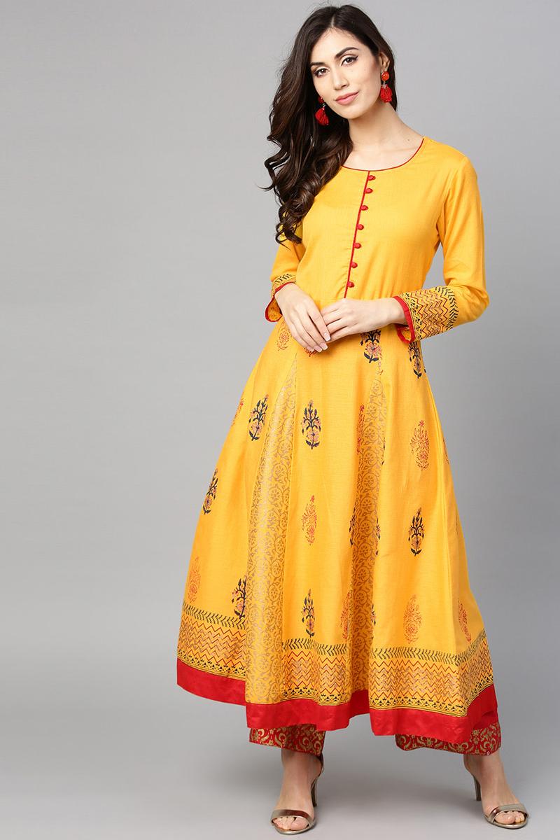 Exclusive Yellow Block Print Anarkali Kurta