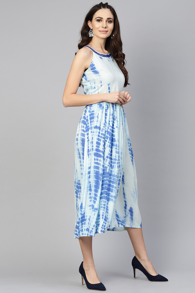 Exclusive Blue Color Viscose And Rayon Fabric Dyed Fit And Flare Dress