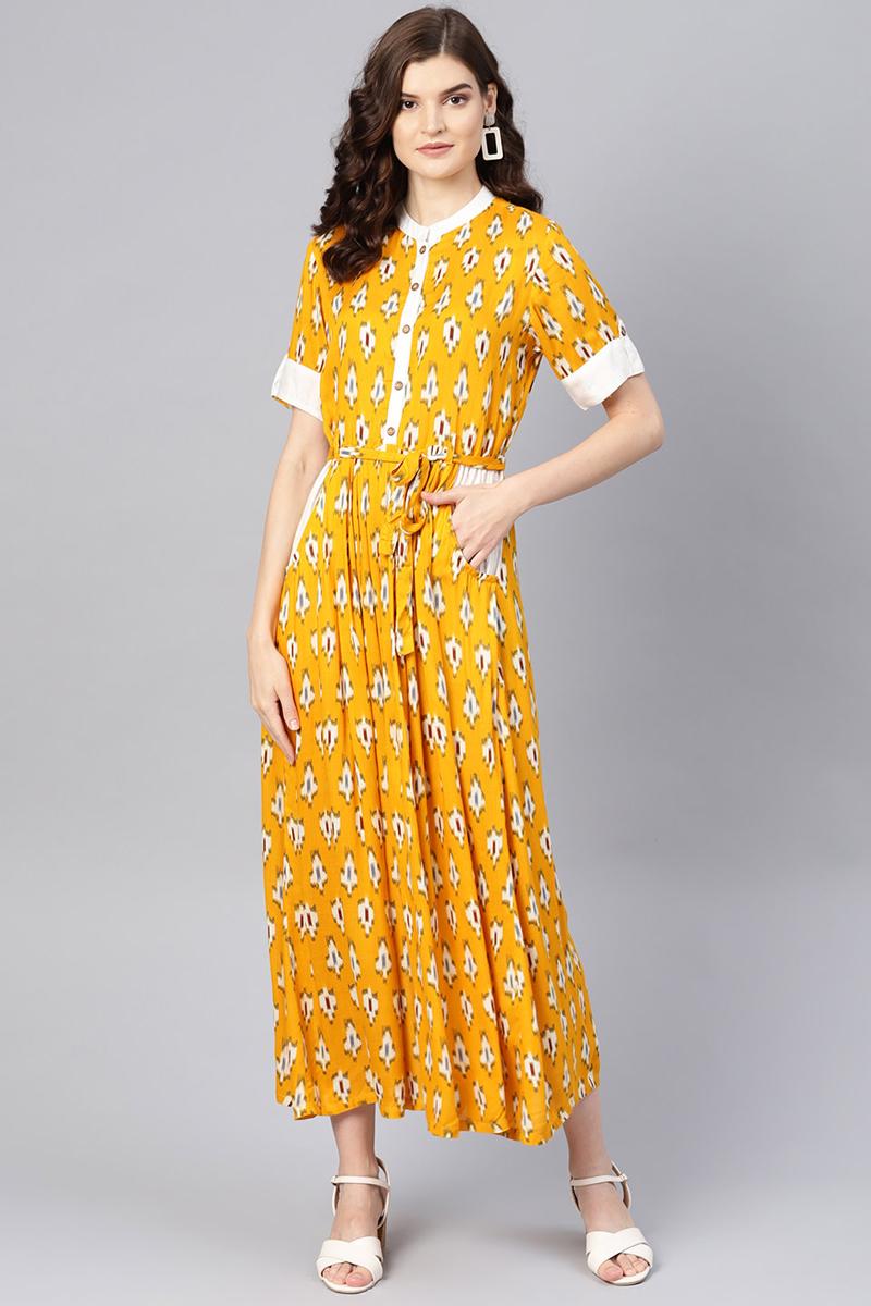 Exclusive Mustard Color Viscose And Rayon Fabric Ikat Print Maxi Dress