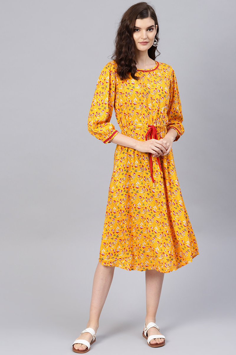 Exclusive Mustard Color Viscose And Rayon Fabric Floral Printed A Line Dress