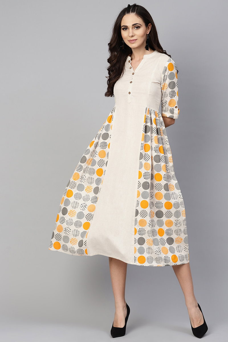 Exclusive Off White Color Cotton Fabric Printed Midi A Line Dress