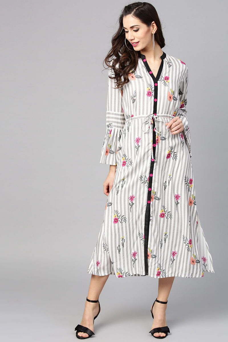 Exclusive Off White Color Viscose And Rayon Fabric Printed Midi A Line Dress
