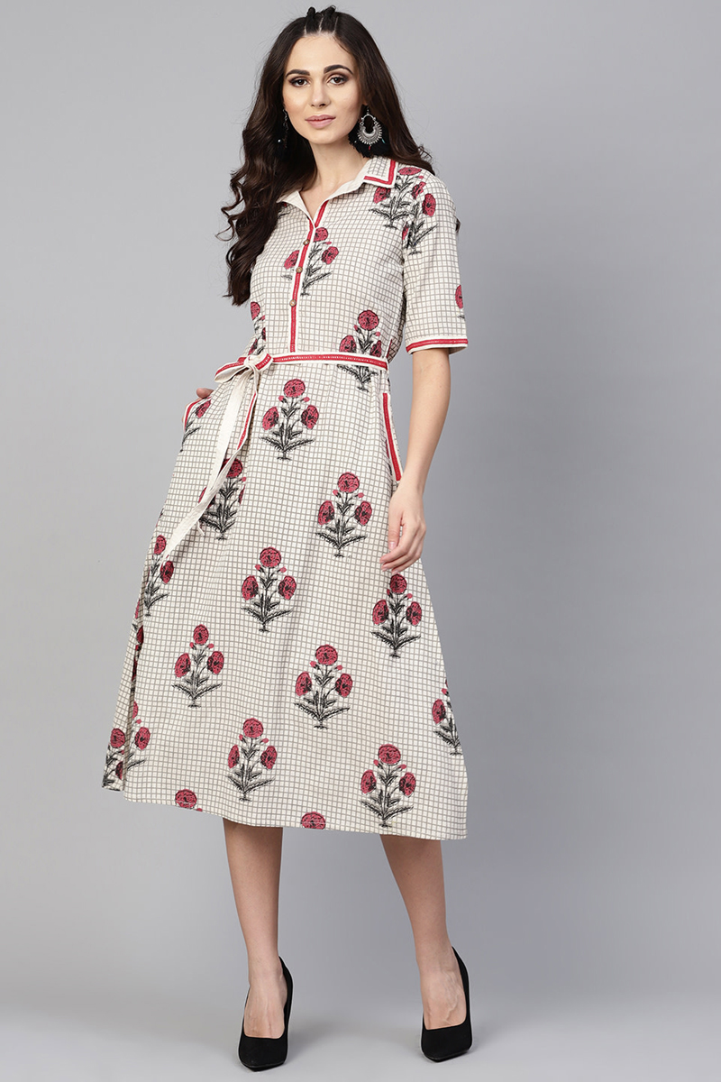 Exclusive Off White Color Cotton Fabric Printed A Line Dress