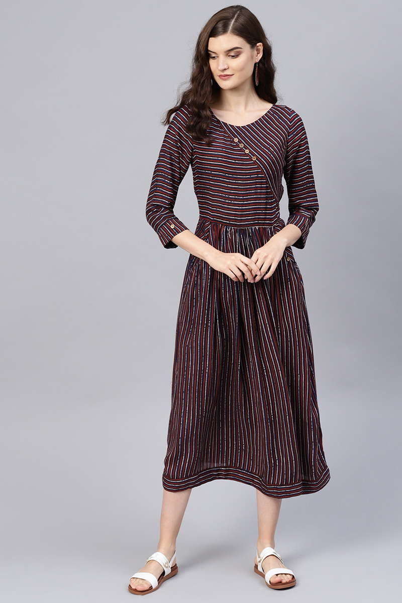 Exclusive Maroon Color Cotton Fabric Striped A Line Dress