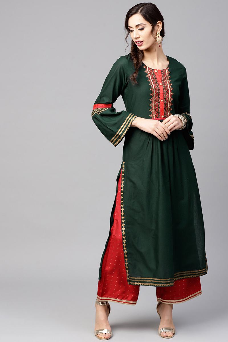 Exclusive Dark Green Color Cotton Fabric Yoke Design Straight Kurta