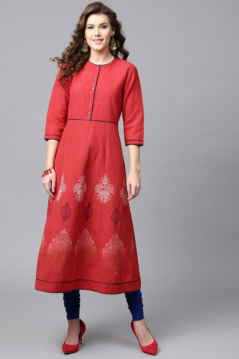 Exclusive Red Color Cotton Fabric Printed A Line Kurta