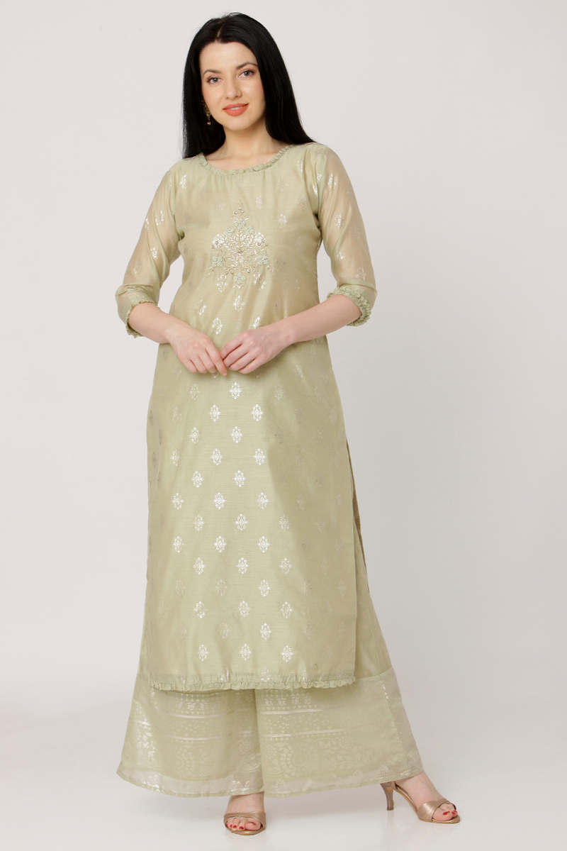 Exclusive Beige Color Kurti With Palazzo