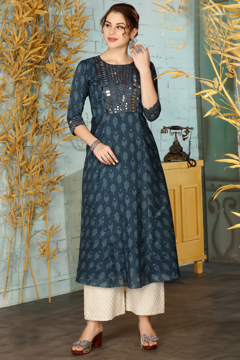Exclusive Dark Grey Color Kurti With Palazzo Pant