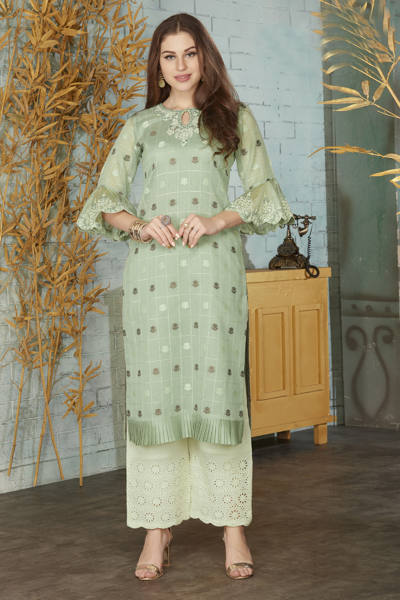 Exclusive Sea Green Color Kurti With Palazzo Pant