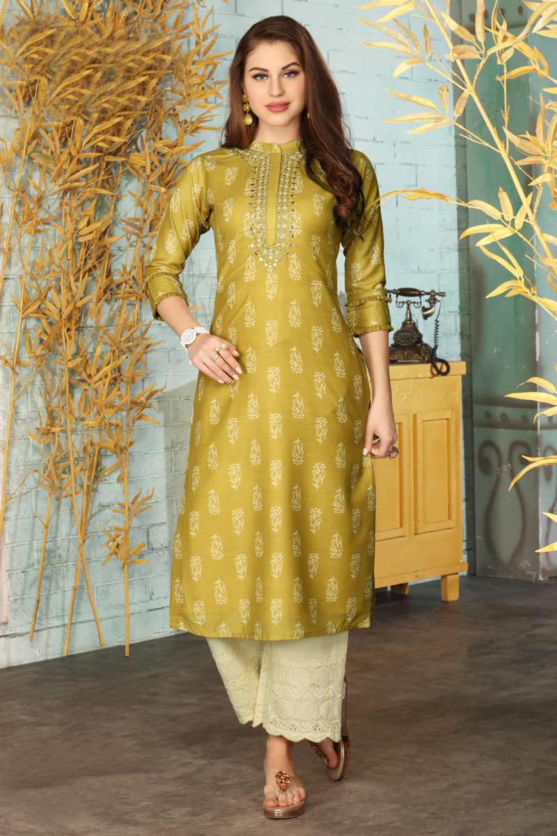 Exclusive Mustard Color Kurti With Palazzo Pant