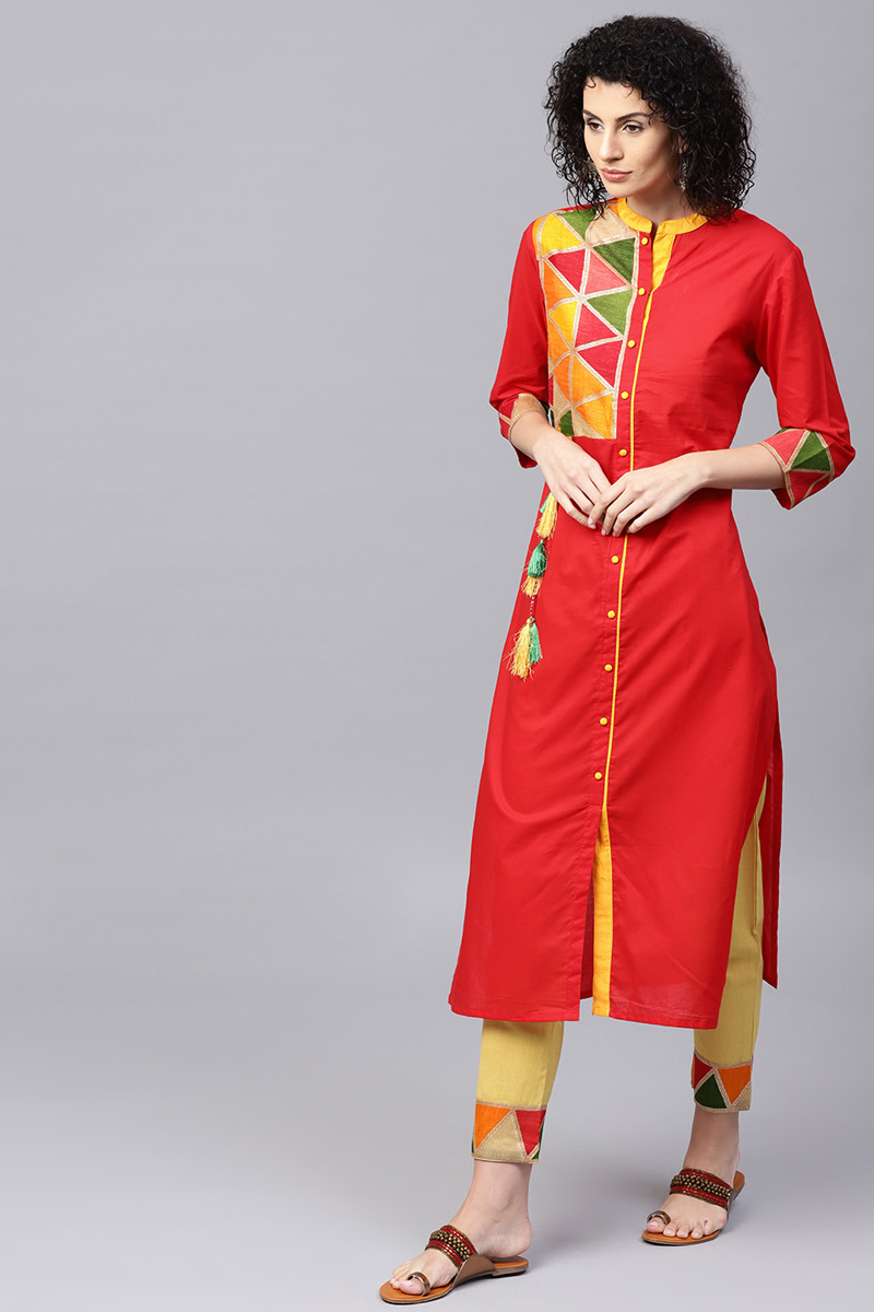 Exclusive Red Color Yoke Design Kurta With Trouser