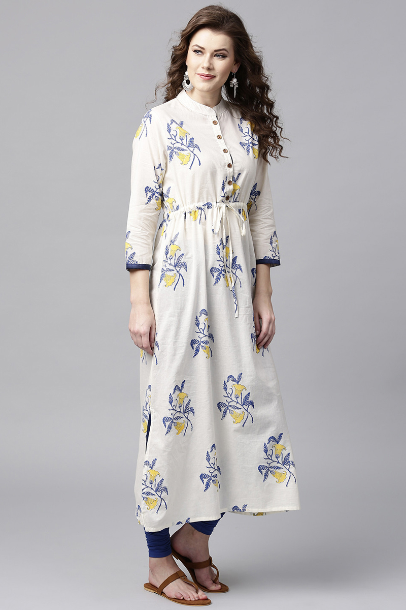 Exclusive Off White Color Floral Printed A Line Kurta