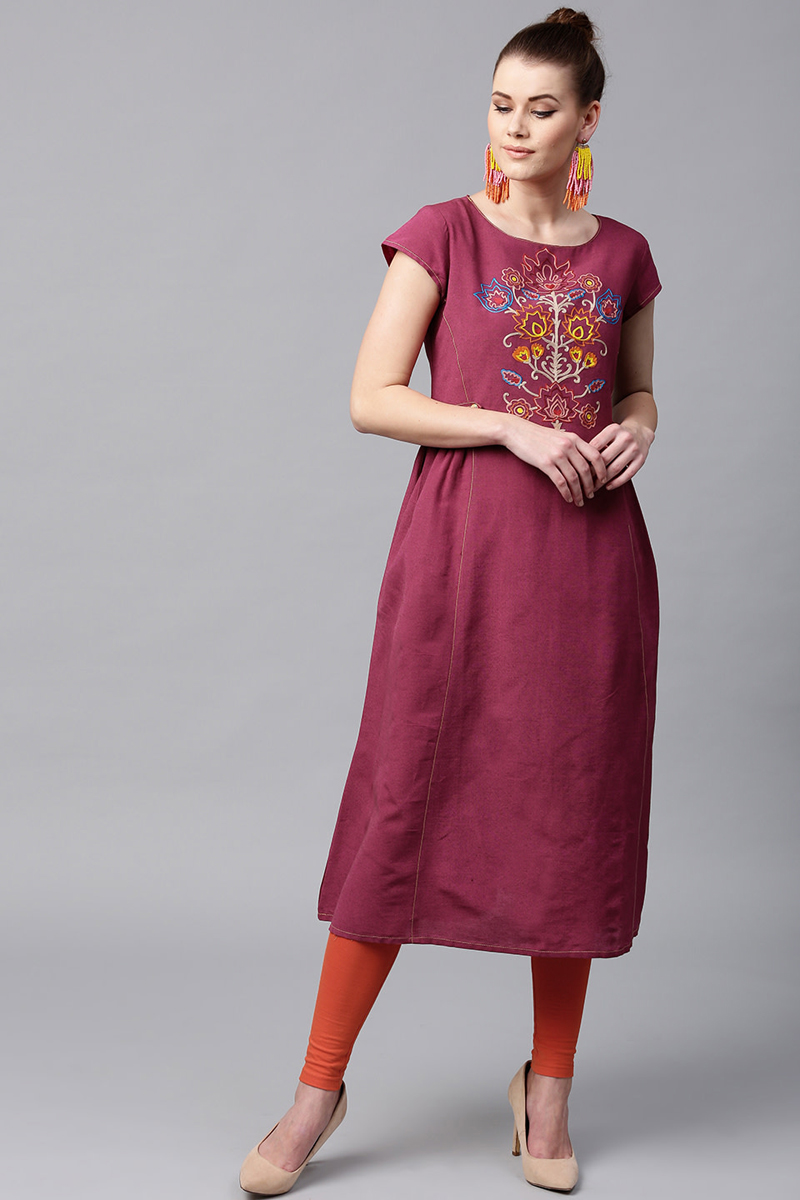 Exclusive Burgundy Color Embroidered A Line Kurta