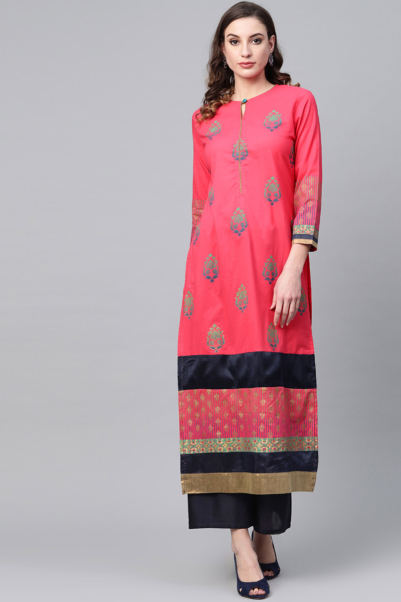 Exclusive Pink Color Block Printed Kurta With Palazzo